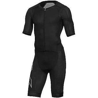 2XU Komprimering Full Zip Sleeved Mens Simning Triathlon Baddräkt Trisuit Svart