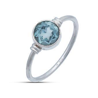 Ring Silber 925 Sterlingsilber Blau Topas blau Stein (Nr: MRI 191)