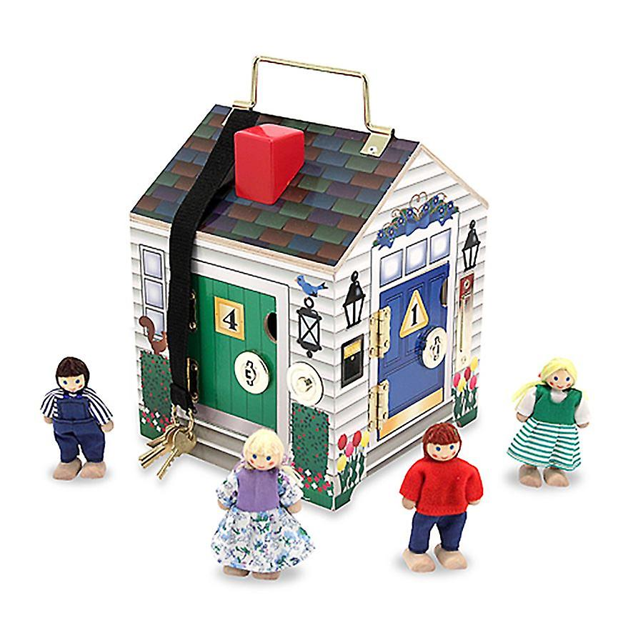 Melissa & Doug Wooden Door Bell House with 4 Keys for 3yrs+