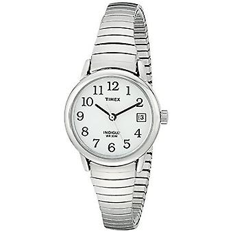 Timex Damenuhr Silber Edelstahl Quarz mit weißen Zifferblatt (T2H371)