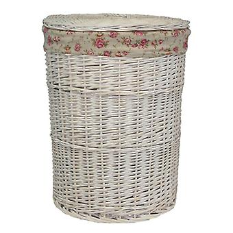 Large Round White Wash Laundry Basket with a Garden Rose Lining