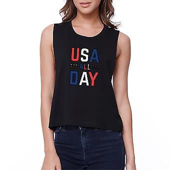 USA All Day Womens Black Crop Top Cute 4th of July Womens Crop Tee
