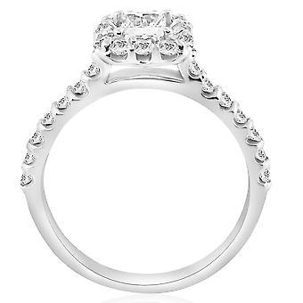Princess Cut Diamond Engagement Ring 1 1/10 Ct Halo Band 14k White Gold