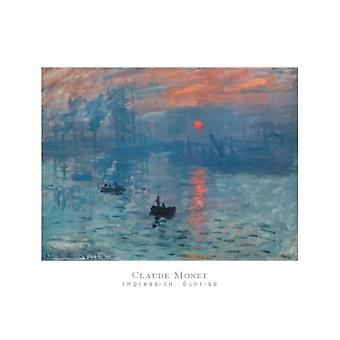 Vaikutelman Sunrise (sininen) Juliste Tulosta Claude Monet (32 x 24)