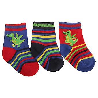 Neonati maschi assortiti dinosauro/Dragon Design calze (pacco da 3)