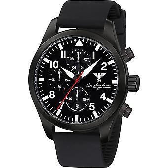 KHS Herrenuhr Airleader zwarte stalen chronograaf KHS. AIRBSC. SB