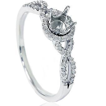 1 / 5ct diamant Infinity Ring indstilling 14K hvidguld