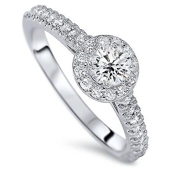 1/2CT Halo Diamond Engagement Ring 14K White Gold