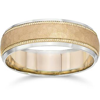 Hammered Two Tone 6mm Mens 14K White & Yellow Gold Wedding Band