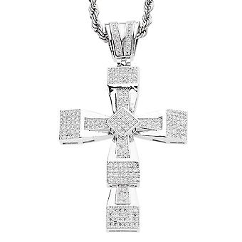Iced Out Bling MICRO PAVE Anhänger - ICE BLOCK CROSS