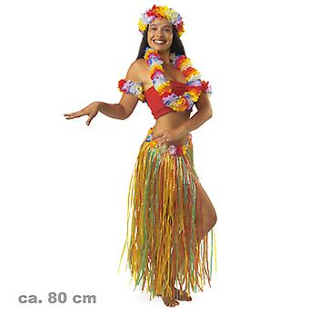 Hula rokje gekleurd ca. 80 cm Hawaii Stille Zuidzee tropic