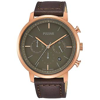 Pulsar Mens Rose Gold Plated Case Brown Leather Strap PT3940X1 Watch
