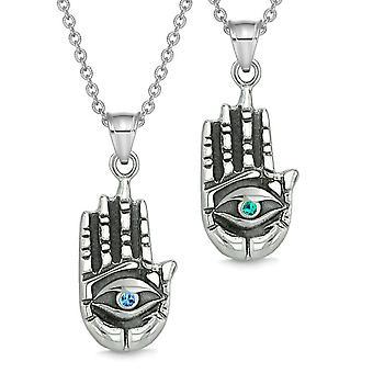 Alle ser følelsen Buddha øye kjærlighet par beste venn amuletter blå grønn anheng halskjede