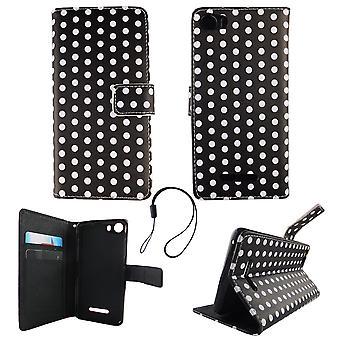 Mobiele telefoon geval zakje voor mobiele WIKO Lenny 2 polka dot zwart wit