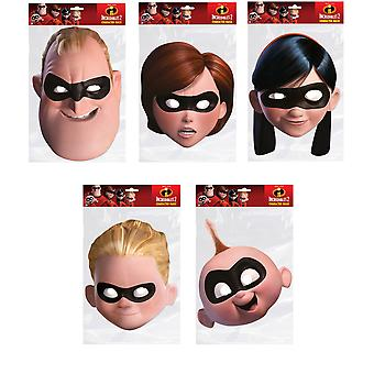 Incredibles 2 Official 2D Card Party Fancy Dress Masks Variety 5 Pack