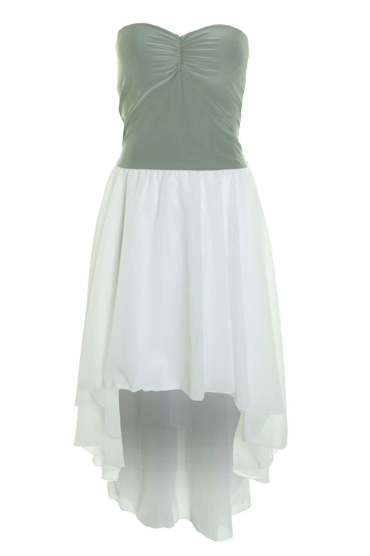 Womens Strapless Boobtube Padded Fishtail High Low Chiffon Contrast Ladies Dress