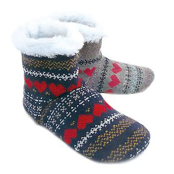 Chaussettes Uwear Womens Knitted Fairisle Patterned Boot Slippers