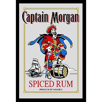 Captain Morgan Spiegel maustettuna rommi seinäpeili musta muovinen runko, puu.