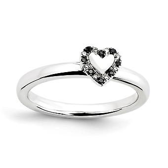 925 Sterling Silver Polished Prong set Stackable Expressions Love Heart With Black and White Dia. Ring Jewely Gifts for