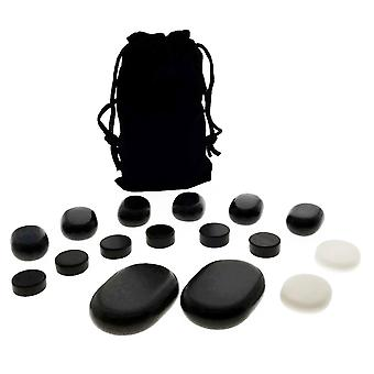 16pc Facial Massage Basalt Stone Set w/Velvet Travel Pouch