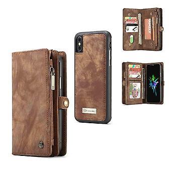 CASEME iPhone X/XS Rétro Split Portefeuille en cuir Case-brun