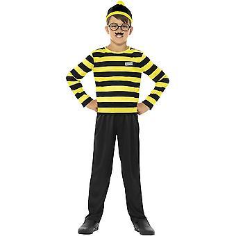 Dónde está Wally Odlaw Costume, negro y amarillo, con Top, pantalón, sombrero, bigote y gafas