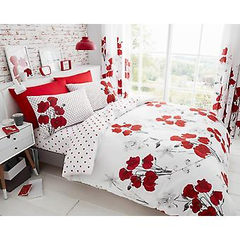 Poppy Red Flower Printed Floral Duvet Cover Polycotton Bedding Set