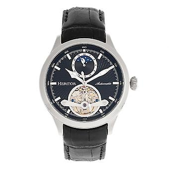Heritor Automatic Gregory Semi-Skeleton Leather-Band Watch - Black