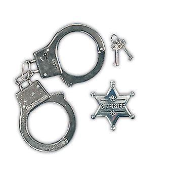 Policía establece a los niños 2 piezas esposas y policía estrellas accesorios carnaval