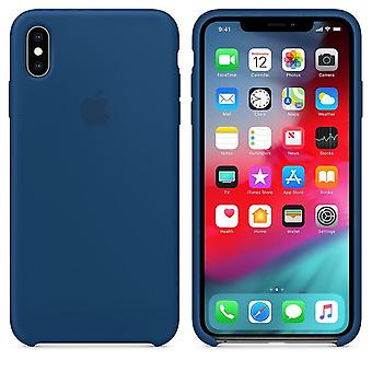Original Packed Apple Silicone Microfiber Cover Cover Case for iPhone XS Max - horizontal blue