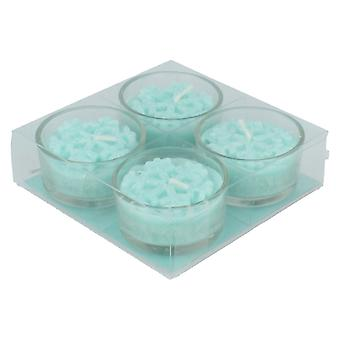 Straits 4 Pack Snowflake Tea Light Candles 17365