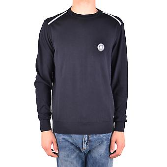 Armani Collezioni Ezbc049011 Men's Blue Cotton Sweater