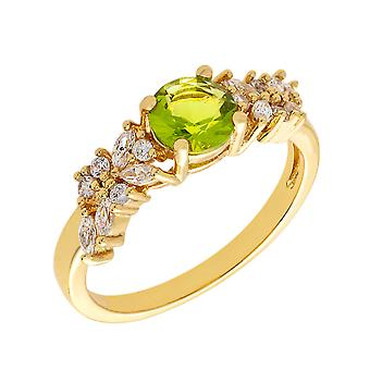 Bertha Juliet Collection Women's 18k YG Plated Light Green Cluster Fashion Ring Size 6