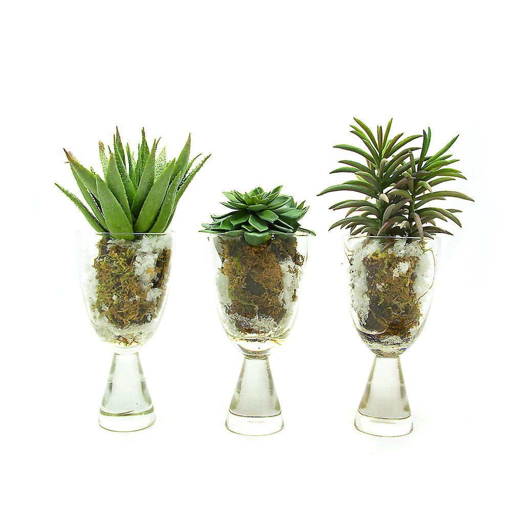 Set of 3 Lifelike Artificial Succulent in Soil and Snow, Real Touch and Look Greenery