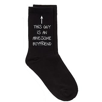 This Guy Is An Awesome Boyfriend Mens Black Socks