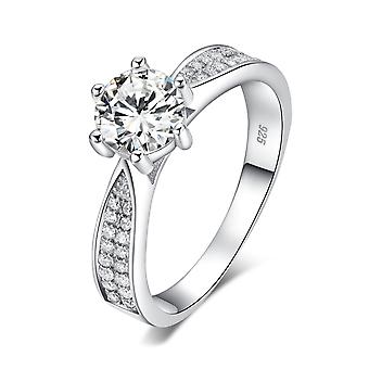 925 Sterling Silver Classic Brilliant Cut Pave Engagement Ring