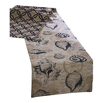 Sanibel Navy Shells na Krem Jadalnia Table Runner 72 Cali