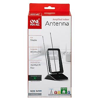 One For All Amplified Indoor Digital TV Aerial with Automatic Gain Control Black