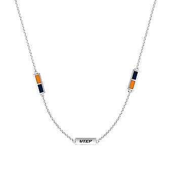 University Of Texas El Paso Sterling Silver Engraved Triple Station Necklace In Orange and Blue