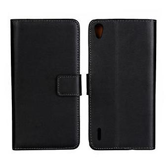 Wallet iphone Huawei P7, genuine leather, black