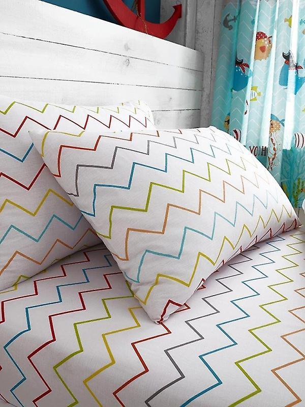 Zig Zag Multi Single Fitted Sheet and Pillowcase Set