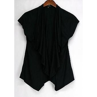Slinky Faux Suede Open Front Drape Front Cap Sleeve Black Womens 465-686