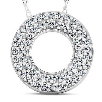 1 / 4ct elämän Puff Diamond ikuisuuden kehällä tasoittaa riipus 14k valkokulta