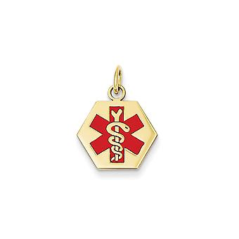 14k Yellow Gold Solid Enamel Polished Engravable Medical Jewelry Pendant - 1.6 Grams