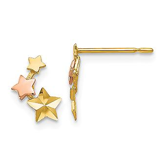 14k Madi K Yellow and Rose Gold Sparkle Cut for boys or girls Star Post Earrings - .3 Grams