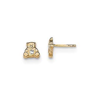14k keltainen kulta kiillotettu CZ Cubic Zirkonia Simuloitu Diamond Teddy Bear pojille tai tytöille Post korvakorut