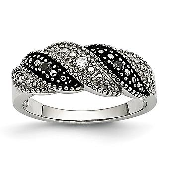 Stainless Steel Polished Antiqued Black and Clear Cubic Zirconia Ring - Ring Size: 6 to 9