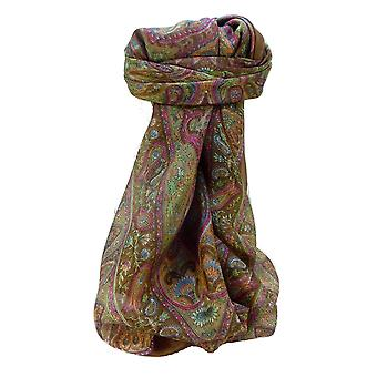 Mulberry Silk Traditional Square Scarf Zoi Chestnut par Pashmina et Soie