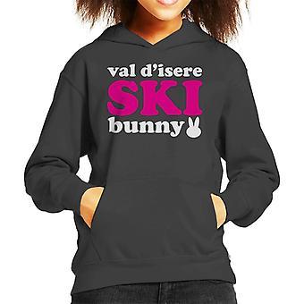 Val D'Isere Ski Bunny Kid's Hooded Sweatshirt