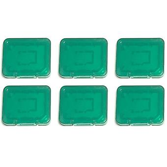 Pro tough plastic storage case holder covers for sd sdhc & micro sd memory cards - 6 pack green